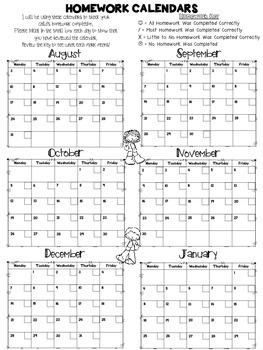 Free Daily Homework Calendars 2015-2016 {Track Homework Completion Each Day!}