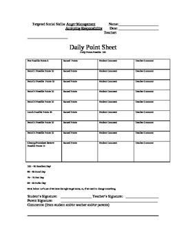 Special Education Daily Point Sheet/Classroom Behavior Management