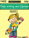 Free Kindergarten Daily writing and opinion prompts (July)
