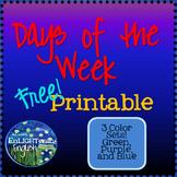 Free Days of the Week Printable