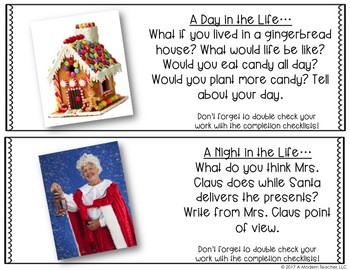 Free December Christmas Winter Writing Prompts