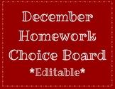 Free December Homework Choice Board EDITABLE