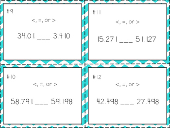 Free Decimal Place Value Task Cards