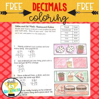 Free Decimals Activity Coloring Math