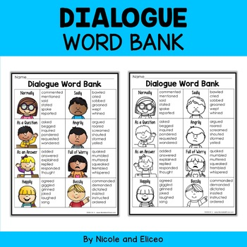 Writing Anchor Chart - Dialogue Word Bank