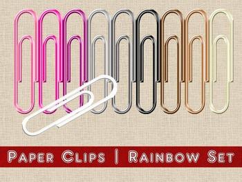 Digital Embellishment | Paper Clips | Rainbow