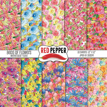 Free Digital Paper - Beds of Flowers