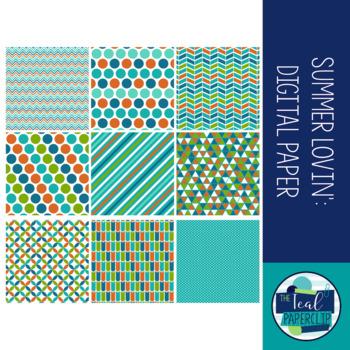 Free Digital Paper Orange, Blue, Green