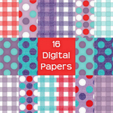 Free Digital Paper Pack - gingham and polka dots