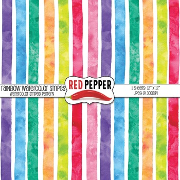 Free Digital Paper - Rainbow WaterColor Stripes Teaser