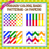 Free Digital Papers - Primary Colors - Basic Patterns - 24 Total
