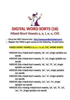 Free Digital Word Sorts (16), Mixed Short Vowels, CVC
