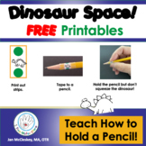 Free Dinosaur Printable to teach HOW TO HOLD A PENCIL