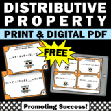 Free Distributive Property Task Cards Common Core 6th Grade Math Review Games