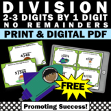 FREE Long Division Task Cards 4th Grade Math Review, No Remainders