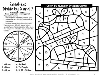 Free Division Color by Number Game: Sneakers Color by Number Division Game