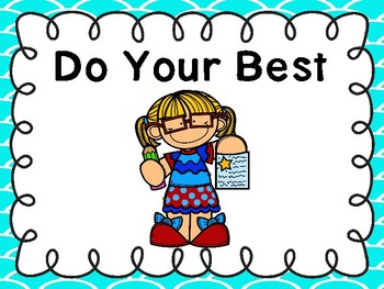 Free Do Your Best Poster (Fish Scale Teal Border)