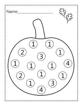 Free Pumpkin Do-a-Dot Worksheets- Numbers 1-10 by Self ...