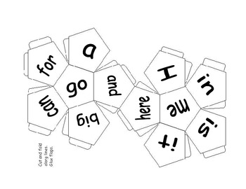 Free printable sight words game using a paper dodecahedron cut out as dice.