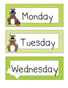 *Free* Dog Theme Days of the Week Poster Set