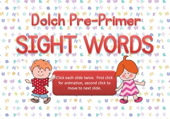 Free Dolch Pre-Primer Sight Words Practice Presentation • Colorful • Animated