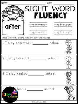 Free Dolch Sight Word Fluency