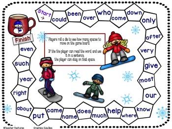 Winter Activities SIGHT WORD GAMES