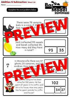 Free Download: Halloween: Addition and Subtraction Bar Model Word Problems