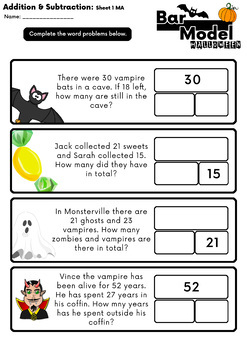Free Download: Halloween Addition and Subtraction Word Problems - Bar Model