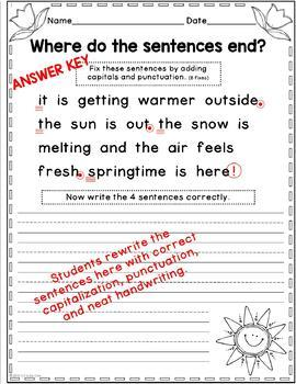 Spring Punctuation and Capitalization; Where do the sentences end? FREE SAMPLER