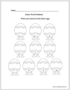 Free Downloads Easter Word Problems  Grades 2-3