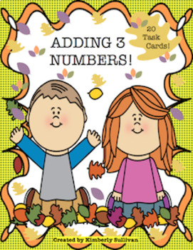 Free Downloads Fall Math Task Cards  Adding 3 Numbers  Grades 1- 3