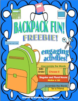 Free Downloads First Week of School Backpack Fun! No Prep!