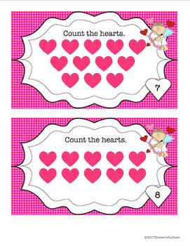 Free Downloads Valentine's Day Math Task Cards 1-20 Pre-K Kindergarten