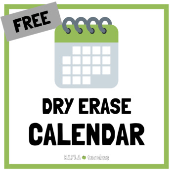 Free Dry Erase Calendar
