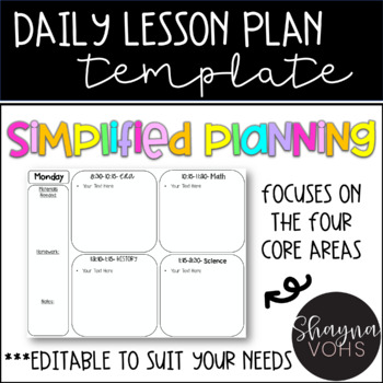 FREE Editable Daily Lesson Plan Templates