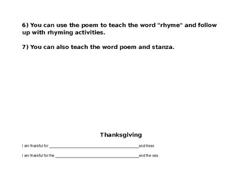 Free! ESL - Sped - Write a Thanksgiving Poem -Middle School, High School, Elem