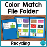 Free Earth Day File Folder Activity for Special Education - Color Matching