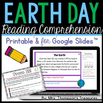 Free Earth Day Reading Comprehension - Daily Text Evidence