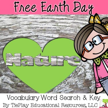FREE Earth Day Vocabulary Word Search Science Worksheet and Key No Prep