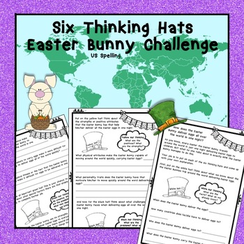 Free Easter Bunny Six Thinking Hats Problem Solving No Prep Us By - Easter-us-map