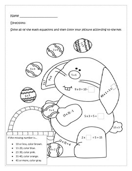 Free Easter Color by Number Third Grade CCSS Operations & Algebraic Thinking