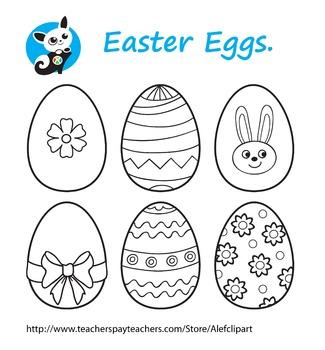 Free! Easter Eggs . blackline clipart, digital stamp,line art,coloring