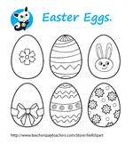 Free! Easter Eggs . blackline clipart, digital stamp,line