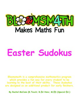 Free Easter Sudokus for Kindergarten, 1, 2, 3, 4, 5 and 6 With Answers.
