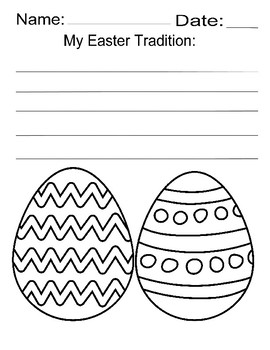 Free Easter egg printable my easter tradition kindergarten art writing prompt