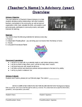 Free Editable Advisory/Homeroom Overview with Expectations and Parent Signature