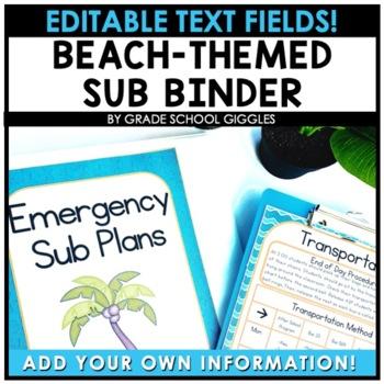 Editable Substitute Binder Beach Theme