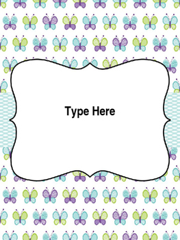 Free Editable Binder Covers -Butterfly Theme