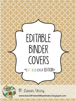 Free Editable Binder Covers (Rainbow Edition)